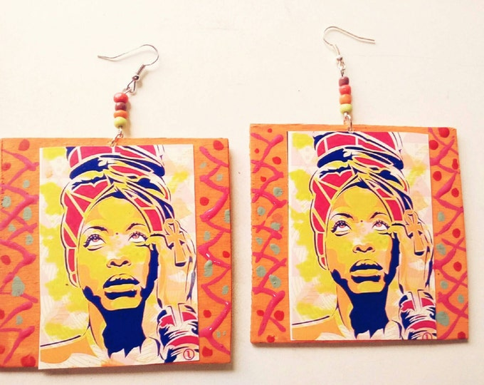 Erykah badu colorful african earrings