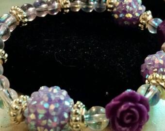 Purple Rose Disco ball Beaded Bracelet