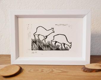 deer · original linocut · 12 x 9 cm