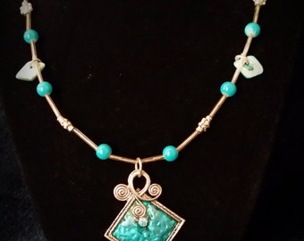 Turquoise Colored Pendant Necklace