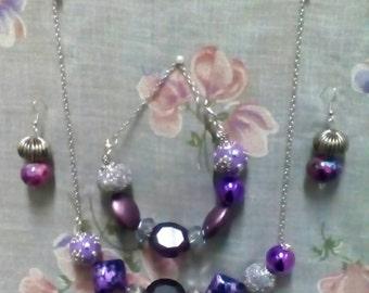 Silver & lavender Jewelry set