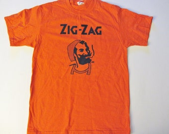 Zig Zag, Orange T-Shirt High Quality T-Shirt, Lg-2xl
