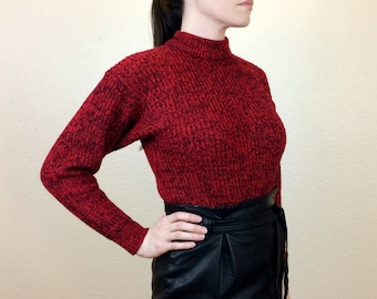 BRICK HOUSE - 80s Dark Red Sweater - Mock Turtleneck Sweater - Heathered Pullover - 80s Sweater - Acrylic Sweater - Red Black - Medium/Large