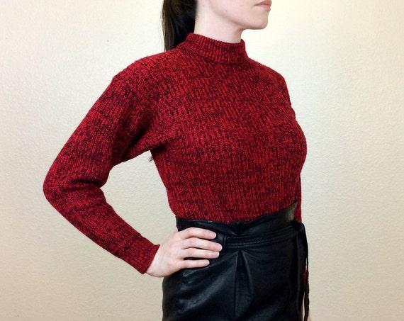 BRICK HOUSE 80s Dark Red Sweater Mock Turtleneck Sweater