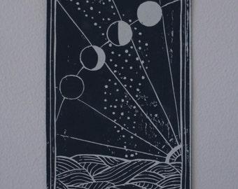Moons, Linocut Print