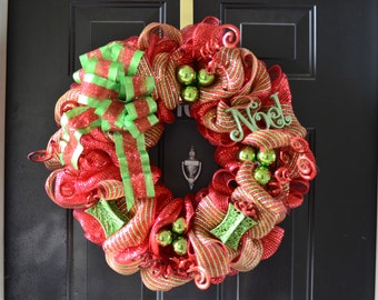 Green and red deco mesh Holiday wreath