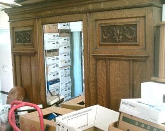 Antique Victorian Carved Oak Armoire Hall Single Beveled Glass Door Wardrobe  Closet Summer Sale