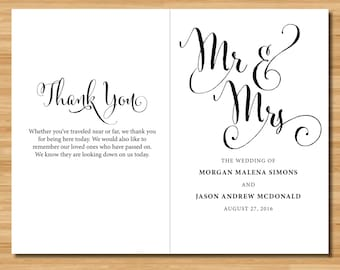 "Custom Wedding Program - Wedding Party - Ceremony Details - Thank you Note - Print and Fold 8.5 x 11"""