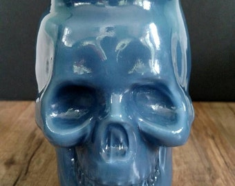 Deep Blue Skull Mason Jar Candle in Storm Watch scent