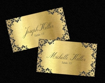 Gold Wedding Table Name Place Cards