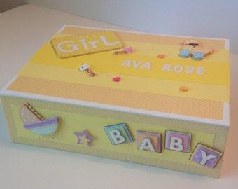 Personalized Baby Keepsake Box, Music Box, Baby Box