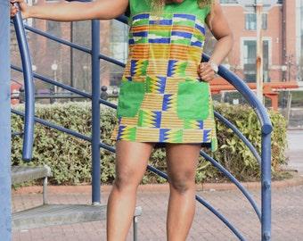 Ankara Dress, loose fit dress, patterned dress