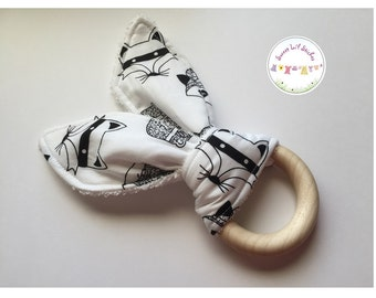 Eco Friendly Teether Wooden Teething Ring with Handmade Bunny Ears - Tribal Woodland Critters Black & White