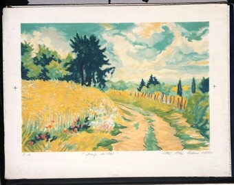"""Lithograph after the """"Wheat fields"""" of Vignoles Atelier Bellini vintage artwork"""