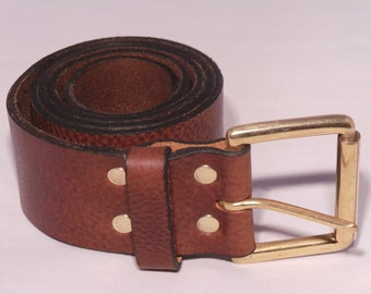 2 Inch wide Leather Jean Belt for Sale with Solid Brass Classic Roller Buckle - Great for both Men and Women Handmade to Measure in the UK