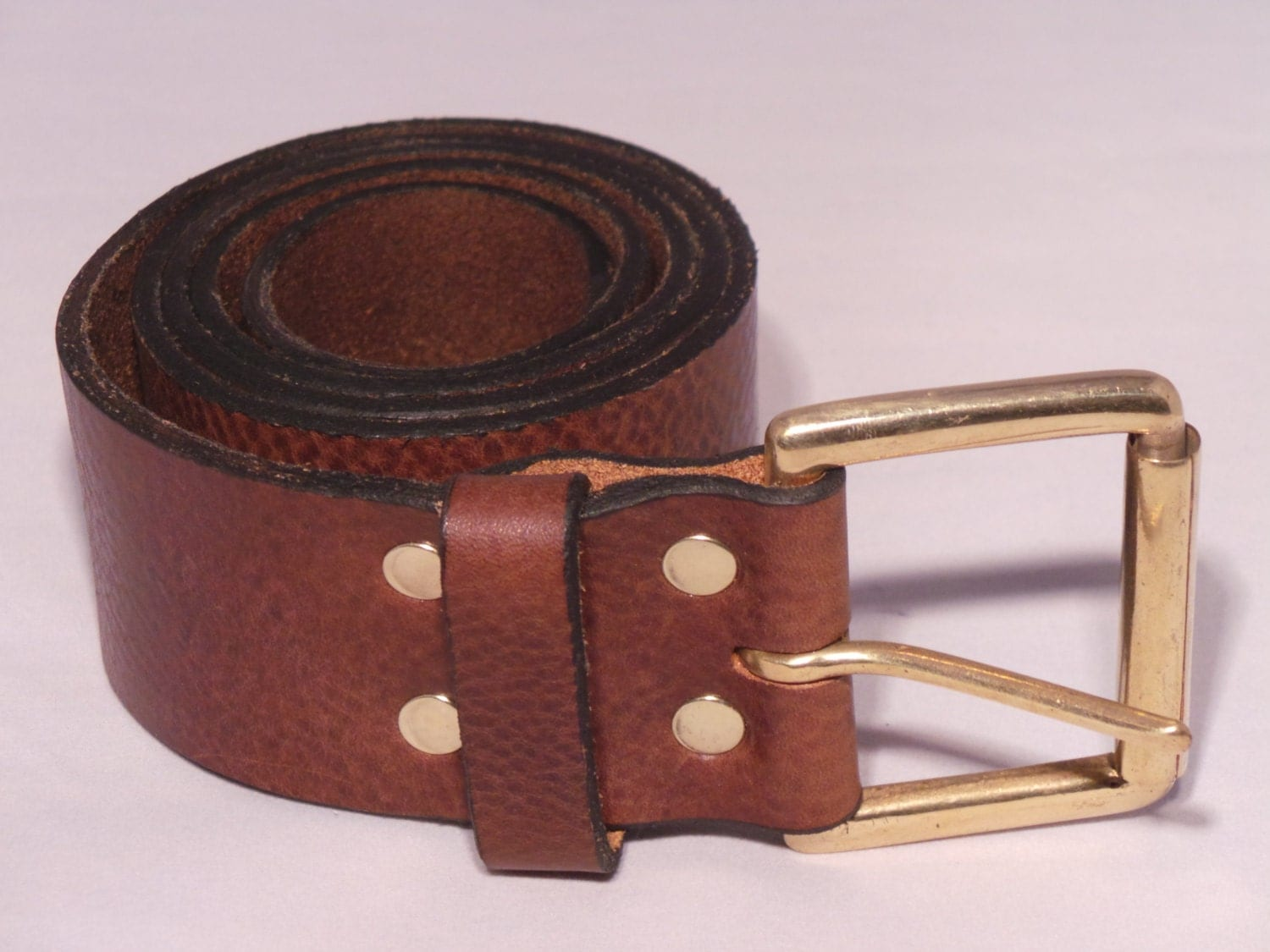 2 inch wide leather jean belt for sale with solid brass