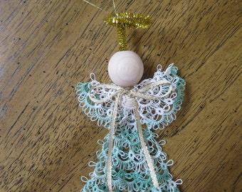 Handmade Tatted Christmas Tree Angel Ornament