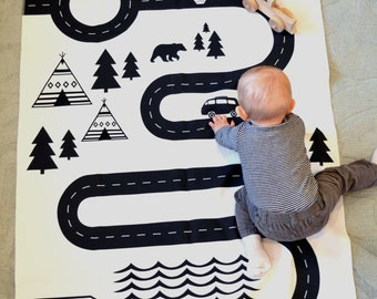 play mat/modern Black and White Childrens Playmat/Car Playmat/Wall Art/Wall Hanging/Teepee/Moose/Bear/Play