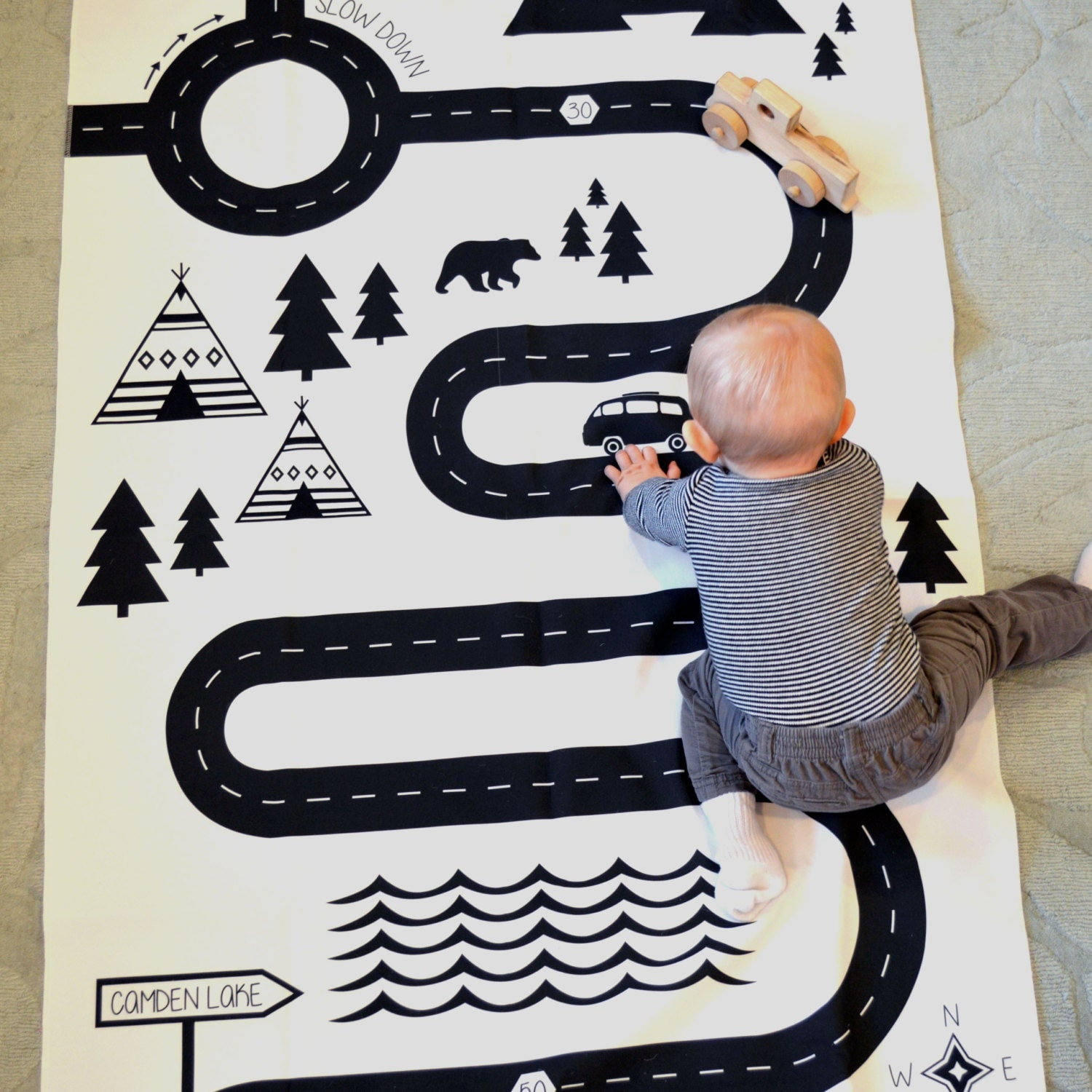 Play Mat/modern Black And White Childrens Playmat/Car