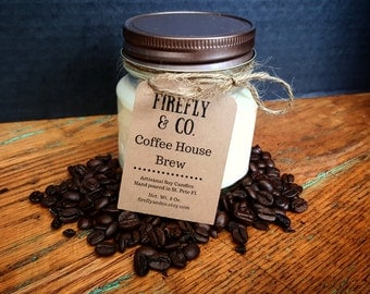 100% Pure Soy Coffee candles, in mason jars by Firefly & Co.