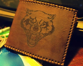 Mens Wallet - Billfold Leather Wallet Pyrography with Classic Bear Design - Full Grain Leather - Initials Wallet