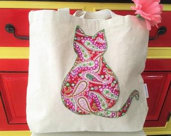 Lovely Cat Applique Canvas Bag /Tote