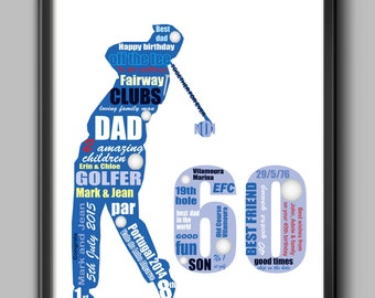 60th birthday gift  for golfer, 60th idea for dad,  personalised gift for dad, husband or friend, A4 and framed