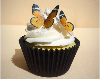 Orange Edible Butterfly, Wafer Cupcake Toppers, Set of 30, Wafer Butterflies, Wedding Cake Decoration, Birthday Cupcakes