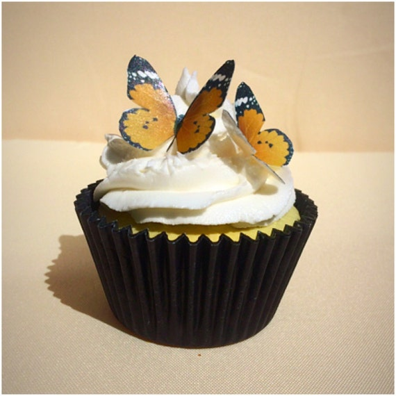 Orange Edible Butterfly Wafer Cupcake Toppers Set Of 30 Wafer Butterflies Wedding Cake