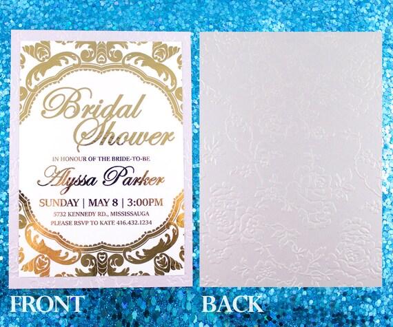 Gold Embossed Wedding Invitations: Gold Foil Embossed Invitation Roses Wedding Invite