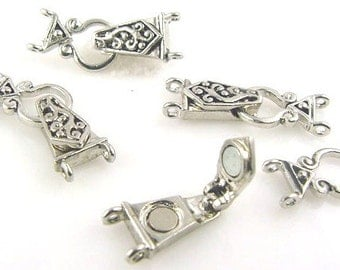 Silver Fold Over Magnetic Clasps 2 Strand 4181-clasp