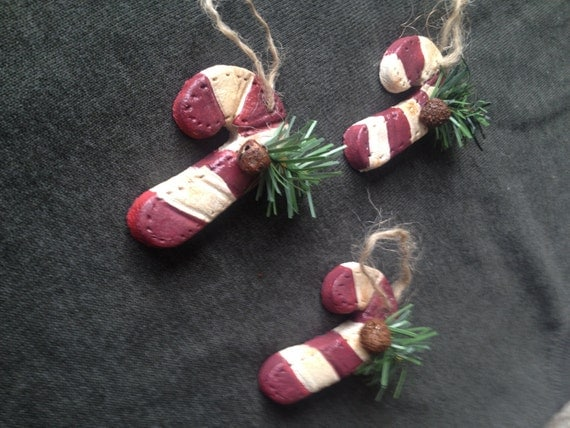 Set of 3 Primitive CANDY CANE Ornaments, Country Christmas, Primitive Christmas, Winter Rustic Christmas Tree, Primitive Holiday Decor