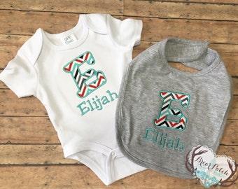 Personalized Baby Boy Bib and Bodysuit, Monogrammed Baby Boy Gift Set, Personalized Baby Boy Gift, Baby Gift Set