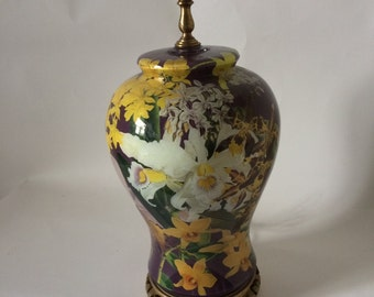 Vintage Decoupage Orchids Lamp