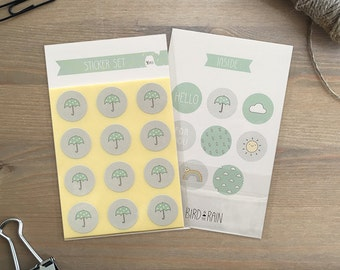 Sticker set 96 pieces / 8 Designs Weather (2 cm round) - Umbrella - Sun - Rainbow - Rain - Clouds - Hello - For You