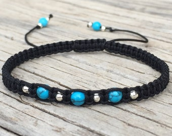 Blue Turquoise Bead Macrame Bracelet, Turquoise Anklet, Cord Friendship Bracelet, Surf Bracelet, Turquoise Anklet, Macrame Anklet, Gift