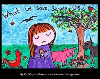 "Art for animals - A4 print - ""What we save, saves us"""