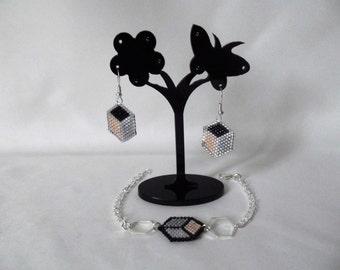 Ornament bracelet/earrings Hexagon version pink-black-grey made in france