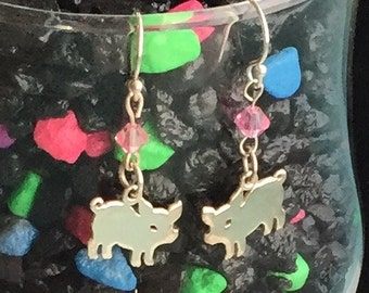 Sterling silver piglet earrings with pink glass bead.