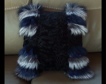 Fox and Astrakhan fur cushion