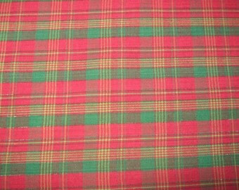 Christmas red and green plaid fabric with metalic green stitch