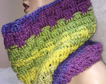 Small Multi Color Cowl, Basketweave Cowl, Purple Cowl, Cowl Scarf, Crochet Cowl, Crocheted Scarf, Neckwarmer Scarf