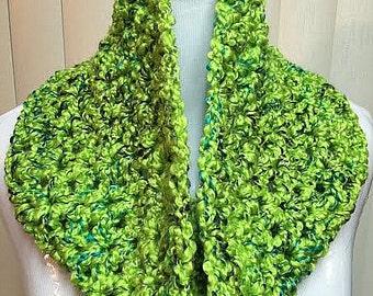 Green Crochet Cowl, Green Crochet Scarf, Lime Green Cowl, Lime Green Scarf, Fuzzy Green Cowl, Fuzzy Crochet Cowl, Small Green Scarf