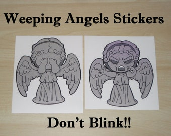 Weeping Angel inspired stickers, High quality vinyl, Don't Blink, Dr. Who, Whovian gifts
