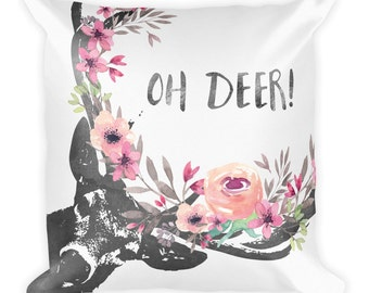 Buck Pillow, Deer Pillow, Cute Pillow,Decorative Pillow Cover, Grey Pillow, Pillow, Pillow case, Pillow, deer, quote pillow, floral pillow,