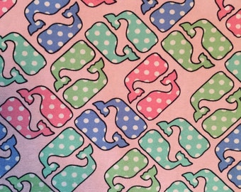 Vineyard Vines Polka Dot Pastel Whale Print Fabric