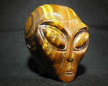 180g Tigers Eye CRYSTAL SKULL ALIEN Et Ufo Star Being Reiki Healing unusual Gift Present Gemstone Carving Meditation Wicca Pagan Strange