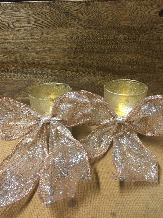 Sparkly gold painted tealight candle holders with attached gold bows- group of 18