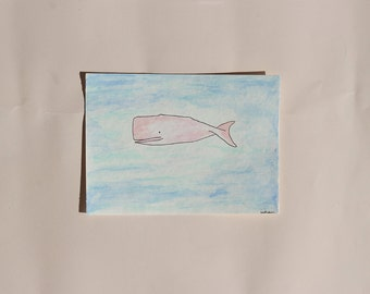 Watercolor Pink Whale