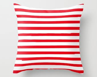 Kids Decor, Red Striped Pillow, 18x18 Pillow Cover, Preppy Pillows, Girls Bedroom, 22x22 Cushion Cover, Boys Bedroom Decor, Teen Room Decor